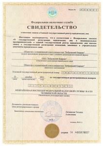 Свидетельство о внесении записи в Ед. гос. реестр юр. лиц